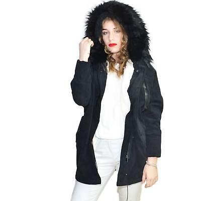 Parka donna giacca invernale modello over pipistrello in ciniglia nero con zip e