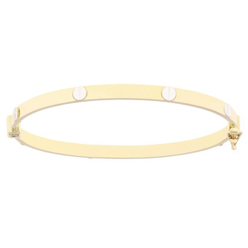 Italian 14k Yellow & White Gold Love Screw Design Hollow Bangle Bracelet 4mm