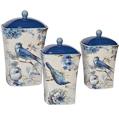 Kitchen Canister Set Bluebird & Floral Ceramic Pass on Painted Bird Blue White GIFT