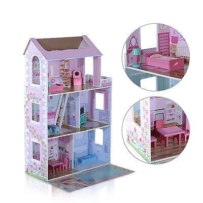 Qaba Doll House Cottage with Furniture Barbie Dreamhouse Wooden Toy Dollhouse