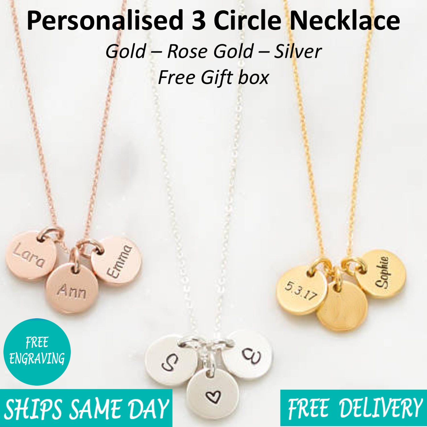 Jewellery - Personalised Engraved Women Jewellery 3 Circle Necklace Rose Gold Silver Giftbox