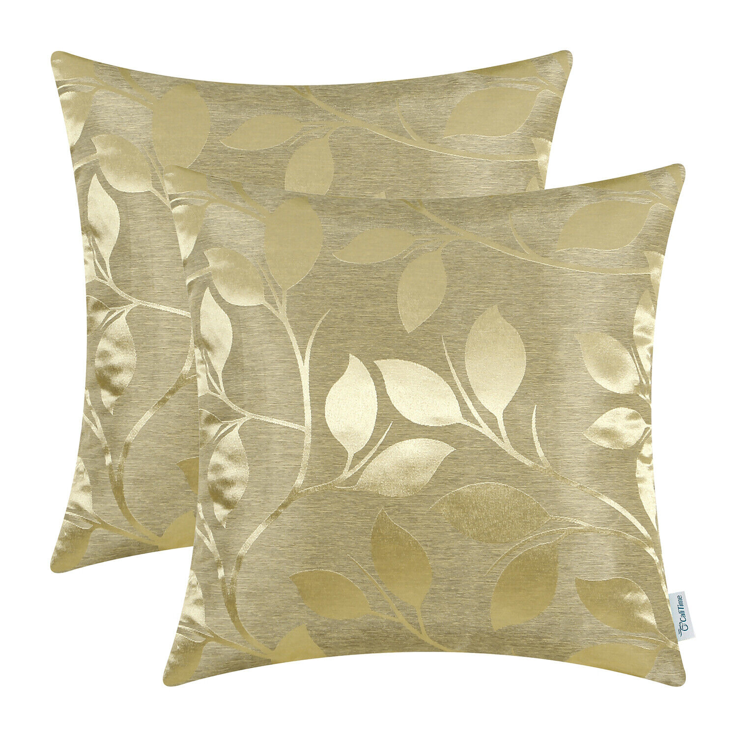 2Pcs CaliTime Gold Cushion Cover Pillow Shells Growing Leave