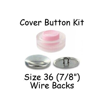 Size 36 (7/8 inch) Cover Buttons Starter Kit (makes 8) with Tool - Wire Backs - Button Cover Kit