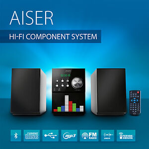 AISER ® HSR 115 Kompakt HiFi System Bluetooth USB CD MP3 Radio Fernbedienung