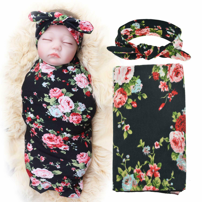 Blanket with Headbands Newborn Baby Floral PrintedBaby Showe