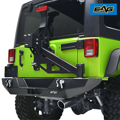 Black Rear Bumper With Tire Carrier & Linkage & D-Ring 07-18 Jeep Wrangler JK