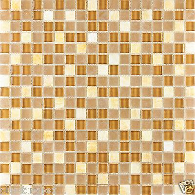 Mini-Cubed Polished Honey Onyx Polished & Frosted Glass Mosaic Backsplash-1 Tile