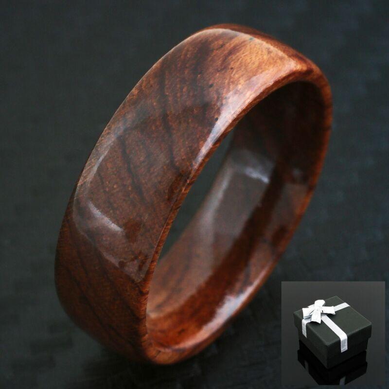 Gorgeous Hawaiian Koa Wood Domed Wedding Band Ring 6mm or 8mm