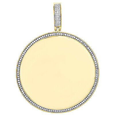 10K Yellow Gold Round Diamond Picture Memory Frame Pendant 2.35