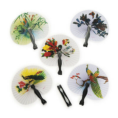 Lot Of 12 Paper Hand Held Oriental Chinese Folding Fans Sake Tea Favor