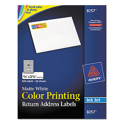 Avery Vibrant Color-printing Address Labels 34 X 2 14 Matte White 600pack
