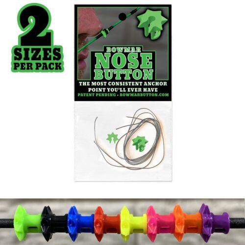 Bowmar Archery Nose Buttons  2 Sizes Per Pack 8 Colors