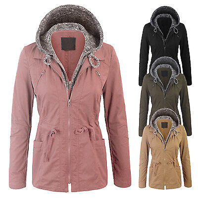 Women's Military Anorak Safari Jacket with Pockets Double Layer Knit Hoodie Coat Double Layer Jacket