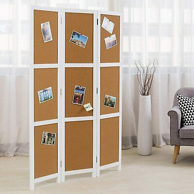 3 Panel Modern Corkboard Style White Wood Framed Folding Room Divider w/ Hinges