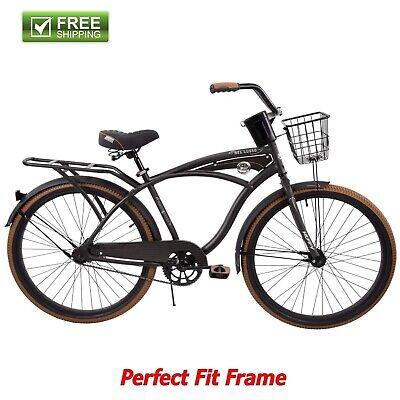 "Huffy Cruiser Bike 26"" Men's Gray Commuter Comfort City Beach Bicycle Rear Rack"