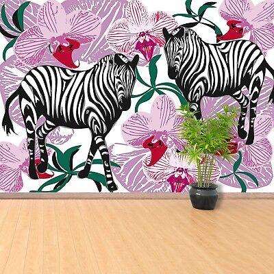 Einfach Zebra (Fototapete Selbstklebend Einfach ablösbar Mehrfach klebbar Zebra Orchideenblüte)