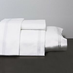 Frette The Hotel Collection Double Bourdon White on White Queen Sheet or Bed Set