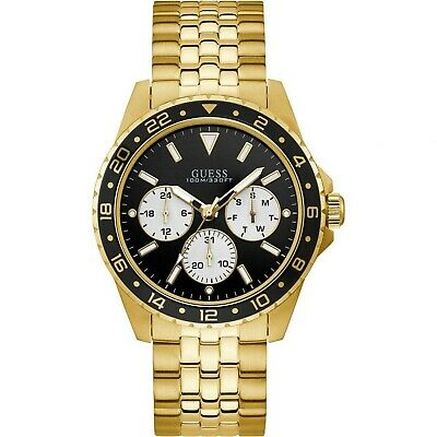GUESS Men's 44mm Gold Tone Stainless Steel Quartz Black Dial Watch W1107G4