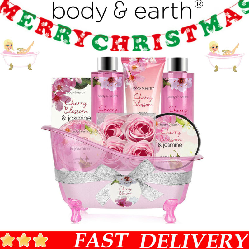 Spa Bath Gift Set for Women-8 Pcs Cherry Blossom & Jasmine Scent Gifts for Her
