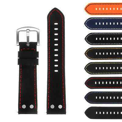StrapsCo Silicone Rubber Pilot Aviator Watch Band w Rivets - Quick Release Strap