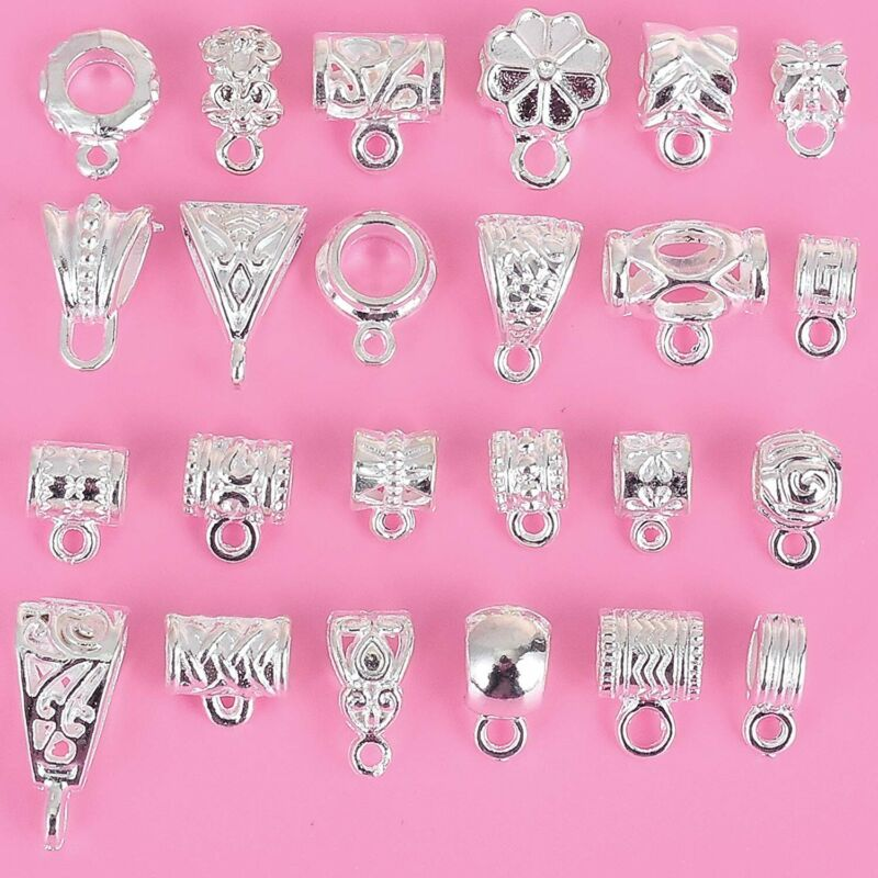 9 Pendant Bails Jewelry Hangers Shiny Silver Hang Charms Assorted Lot Mixed Set