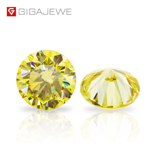 Fancy Yellow Moissanite Stone Loose Gemstone Vivid Yellow Round Cut