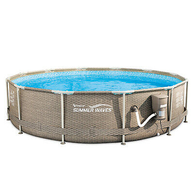 Summer Waves Active Swimming Pool with Tan Weave Wicker Exterior