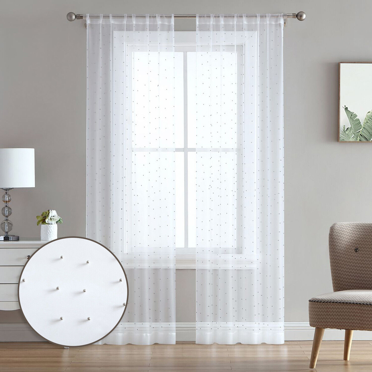 84″ or 96″ Sheer White 2-Panel Rod Pocket Window Curtains Drapes, Silver Beads Curtains & Drapes