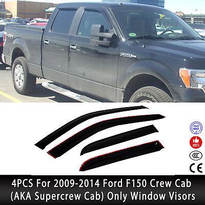 - 4PCS For 09-14 Ford F150 Crew Supercrew Cab Rain Guard Vent Shade Window Visors
