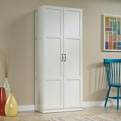 - Tall Pantry Cabinet White Double Doors Kitchen Cupboard Shelves Storage White US