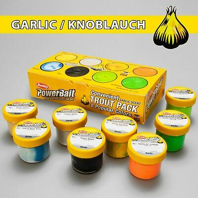 Berkley Troutbait Set 8 Gläser Powerbait Forellenteig garlic Knoblauch