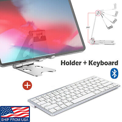 Wireless Bluetooth Keyboard & Foldable Holder Stand for Table iPadOS Android