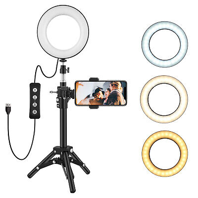 """6""""LED Ring Light Camera Lamp w/ Tripod Stand Phone Holder for YouTube Video Live"""