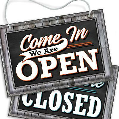 Open Closed Sign For Business Door Reversible Double Sided With Rope