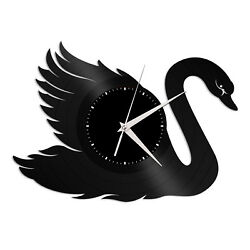 Swan Vinyl Wall Clock Record Famous Animal Gift Home and Office Decoration