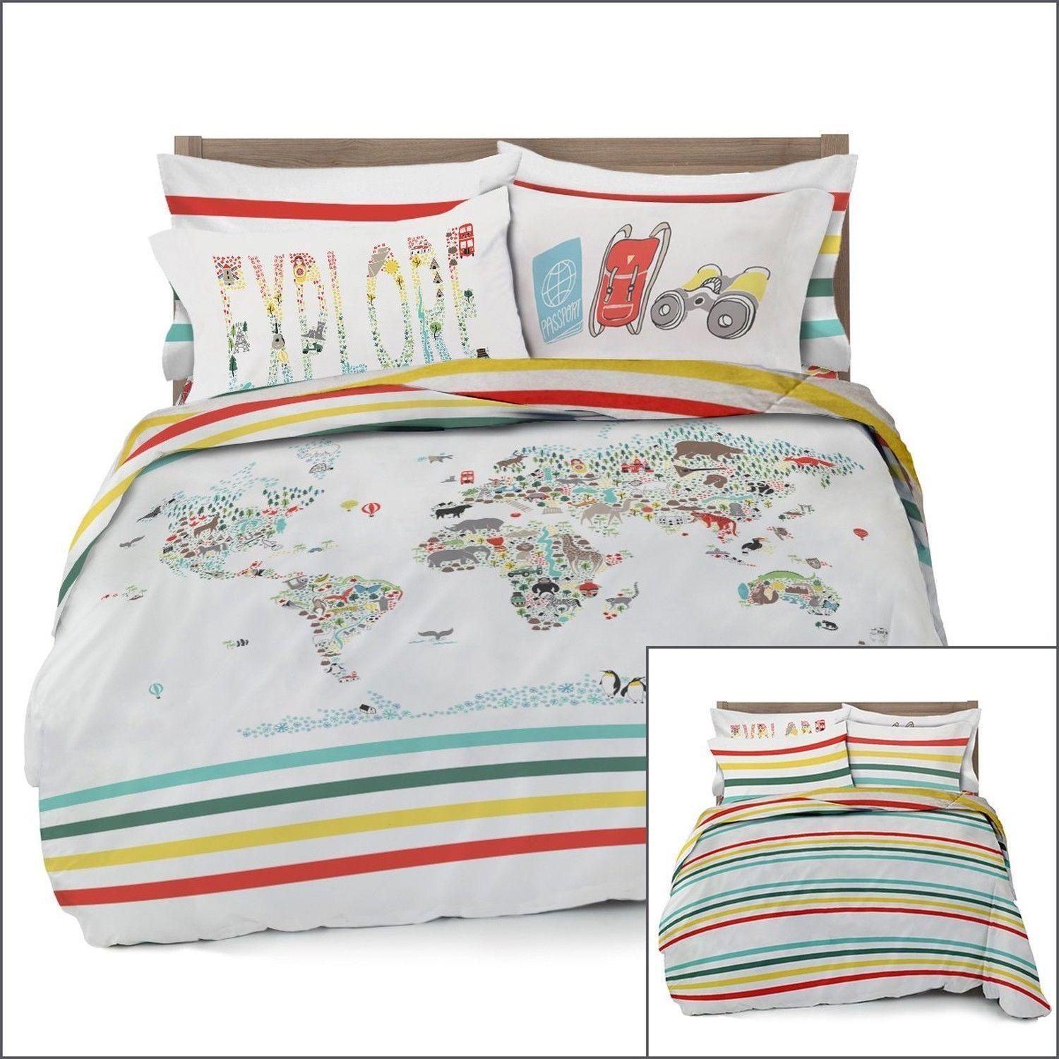 Full/queen World Map Reversible Duvet Cover Set With 2 Pillowcases ...