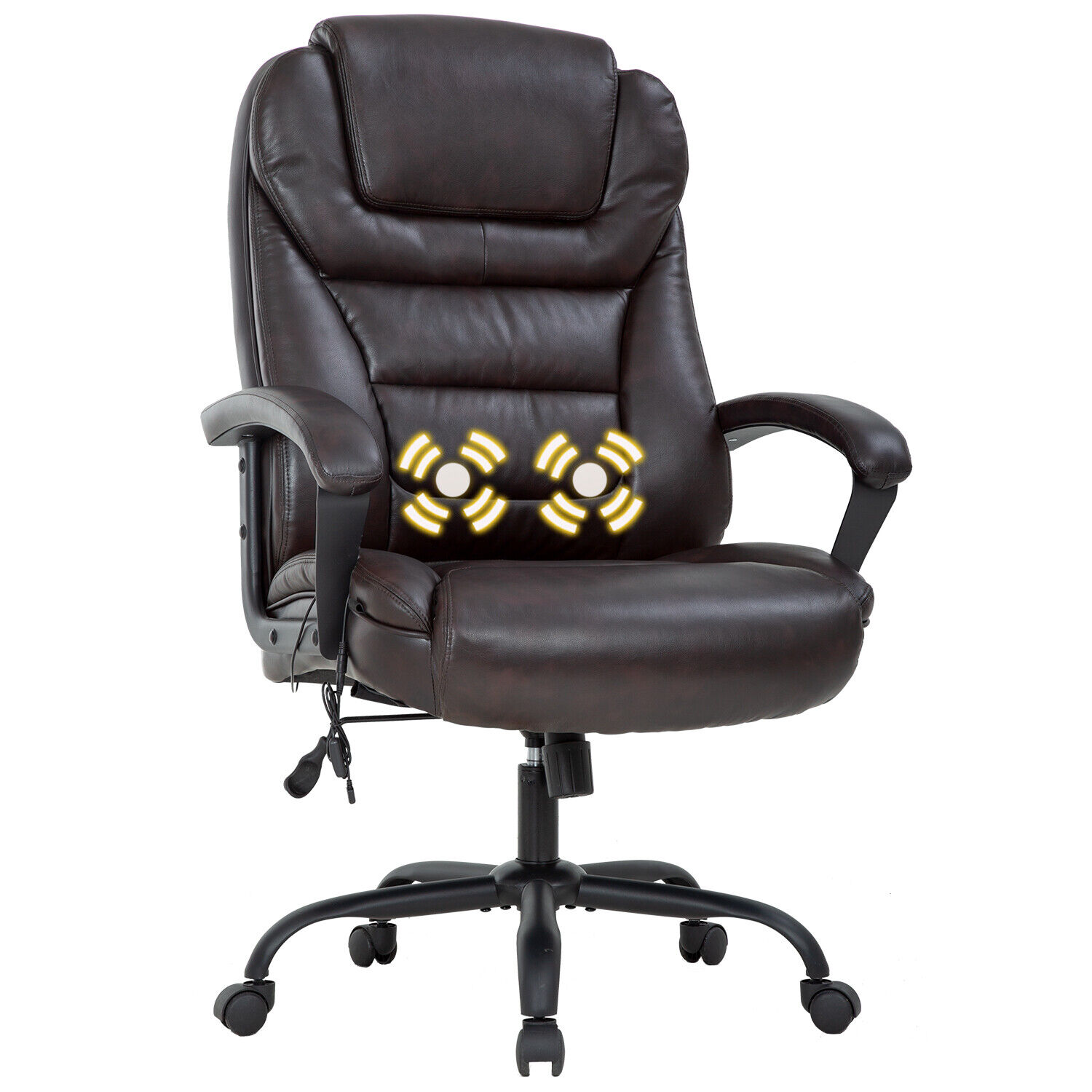 Big and Tall 500lbs Wide Seat Ergonomic Desk Chair with Lumbar Support Arms Business & Industrial