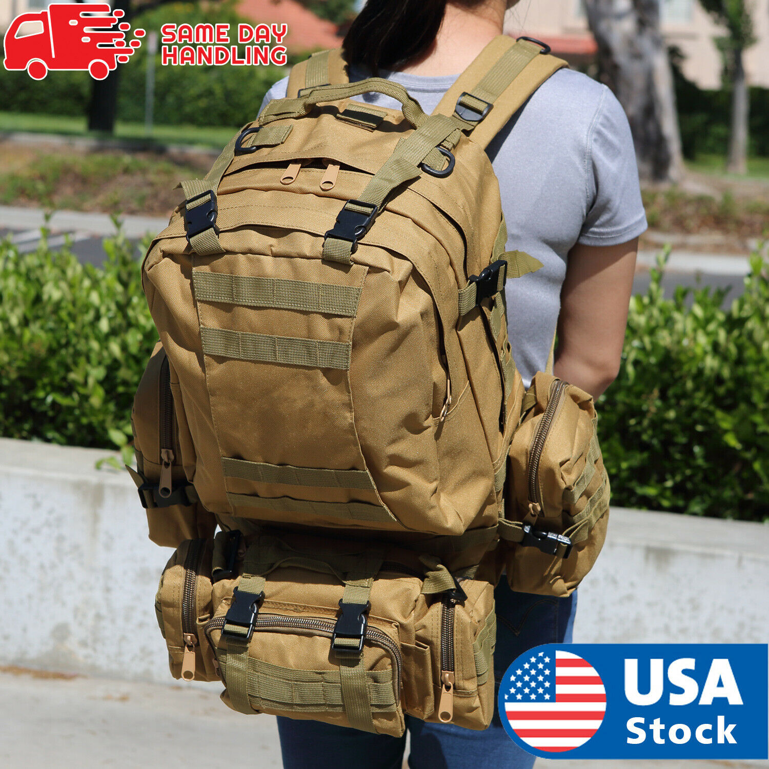 US 55L Molle Outdoor Military Tactical Bag Camping Hiking Tr