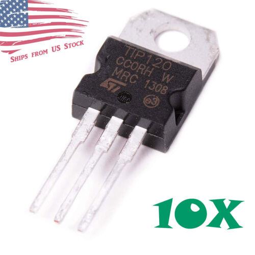 10pcs TIP120 Darlington Transistors TO-220 60V 5A NPN BJT ST for Arduino US