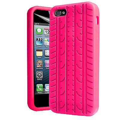 iPhone 5/5S Hot Pink Tyre Tread Silicone Rubber Case for iPhone Grip