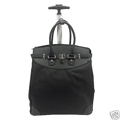 Classic BLACK Microfiber Foldable Carry-on Rolling Tote  Traveling & Shopping