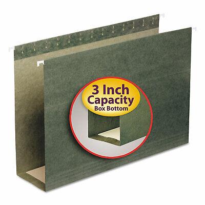 Smead Three Inch Capacity Box Bottom Hanging File Folders Legal Green 25box