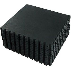 64 SQ FEET Interlocking Foam Mats Tiles Gym Play Garage Workshop Floor Mat Black