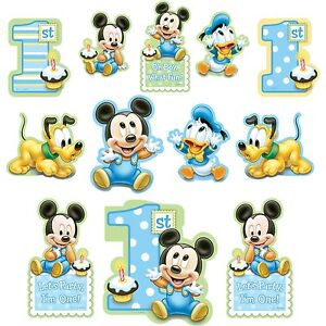 MICKEY MOUSE 1ST BIRTHDAY PARTY SUPPLIES 12 PCS PARTY CUTOUTS