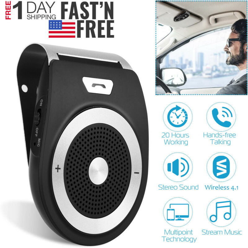 Wireless Car Kit Handsfree Auto Speakerphone Speaker Phone Sun Visor Audio Recei