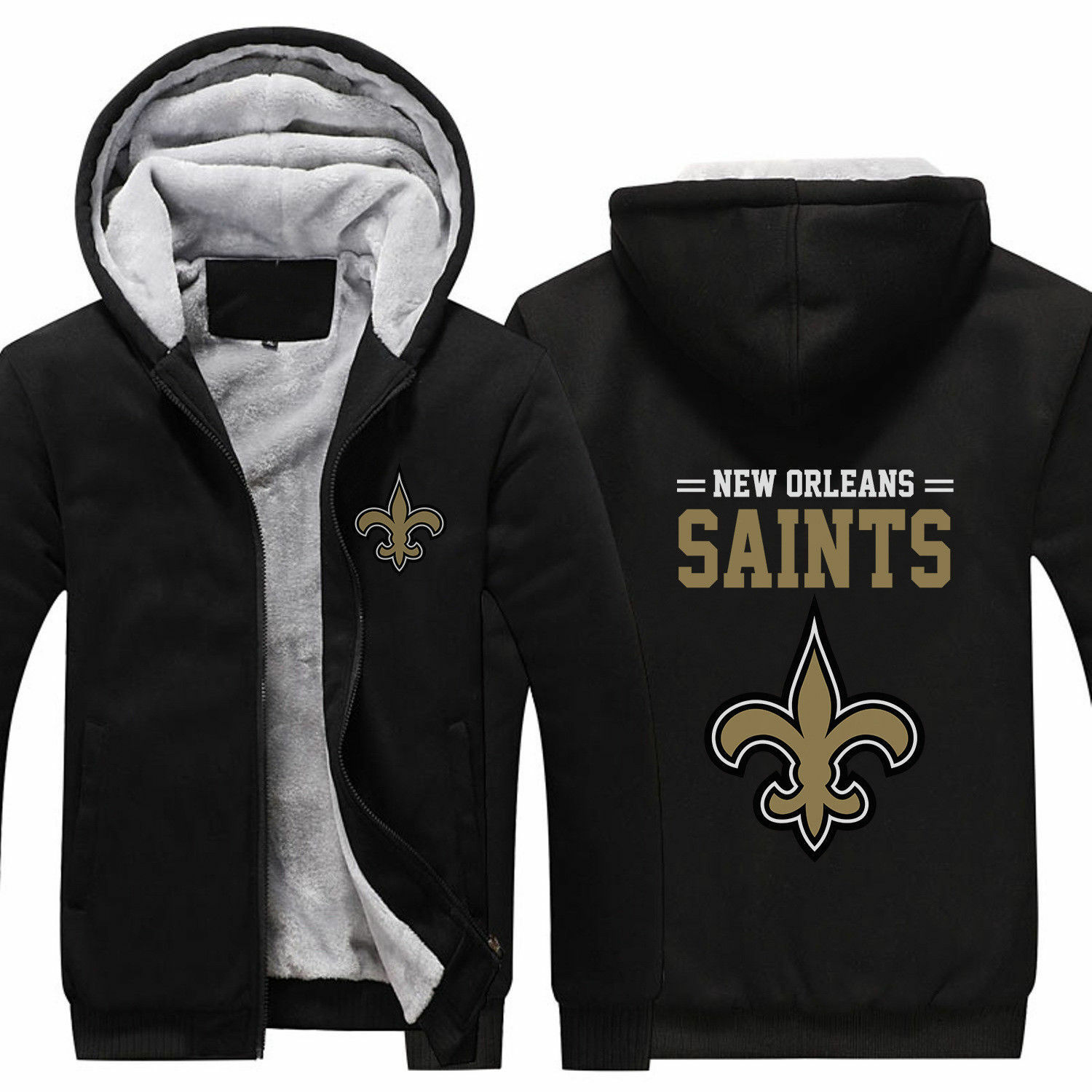 low priced f1a78 962be Details about New Orleans SAINTS Hoodie Jacket Thicken Coat Luminous  Sweatshirt