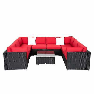 2-9 PCs Patio Rattan Wicker Sofa Set Outdoor Sectional Furniture W/Red - Red Wicker