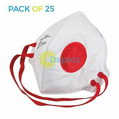 25 Fold Flat FFP3 Dust Masks Disposable Comfort Valved Safety Face Display Box