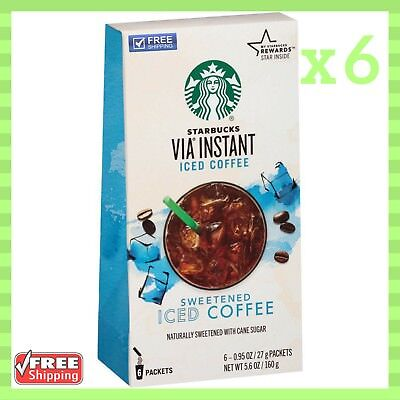 Starbucks Via Sweetened Iced Coffee Twinkling of an eye Pack of 6 Boxes 5.6 Oz Each NEW
