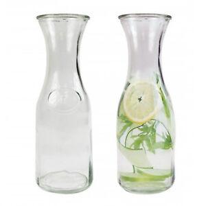 2 x Water Carafe Glass Fridge Milk Bottle Pitcher 0.5 Litre Jug Wine Decanter